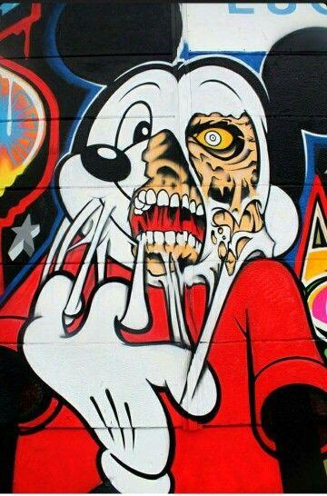 Mickey mouse zombie graffiti