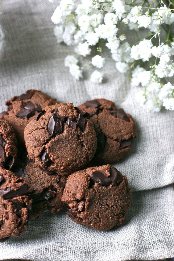 Double Chocolate Almond Cookies:
