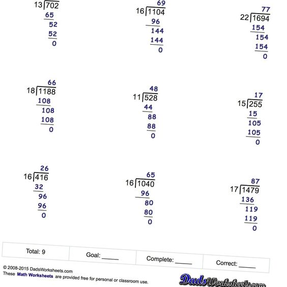 Long Division Worksheets, printable with answer keys! | Math ...