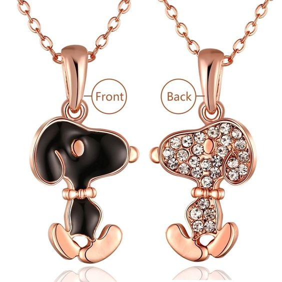 New Lovely Fashion 18K Gold Plated Chain Crystal Dog Necklace Pendant Jewelry #bona #Charm