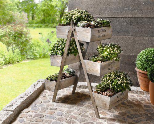 pflanz regal flowers plants blumenregal blumentreppe pflanztreppe holz leiter garten. Black Bedroom Furniture Sets. Home Design Ideas