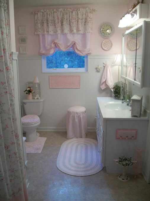 ~Pink Cottage Bath~ cute shabby chic cottage