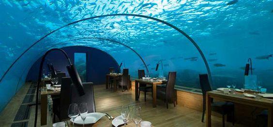 Conrad Rangali, un restaurante sumergido en las islas #Maldivas.