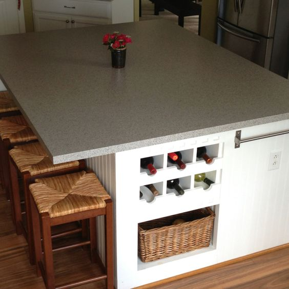 Kitchen Island With Wine Rack: Huge Kitchen Island Made Around Four Base Cabinets (on