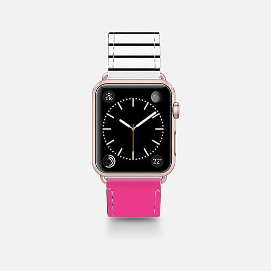 Neon Pink And Stripes Saffiano Leather Watch Band Apple Watch Apple Watch Bands Apple Watch Bands Leather
