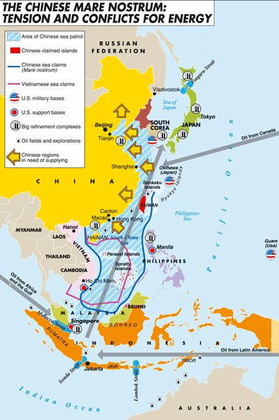 Mapping the net of Chinese geopolitical interests in the highly turbulent South Chinese Sea: conflicting territorial claims, US military outposts, main oil production fields and refinement plants, crossing oil supply routes, range of Chinese sea patrol activities. By Laura Canali for Heartland/Limes. #map #china:
