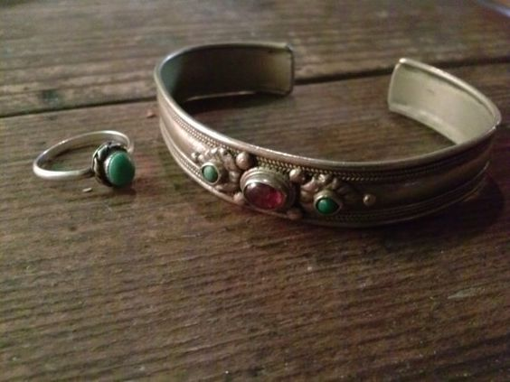 Vintage Silver & Turquoise Wrist Cuff with by SucculentMoon