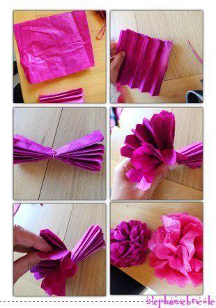 faire des fleurs en papier crepon, faire des fleurs en papier de soie | Deco diy | Pinterest ...