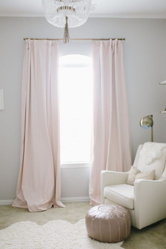 @byistome | Interior inspiration | Petal Pink Drapes in a Baby Girl Nursery - loving this simple, yet glam look! #kidsroom