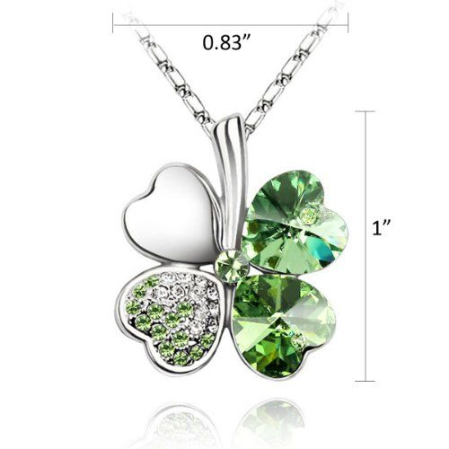 18K Gold Plated Swarovski Elements Crystal Four Leaf Clover Pendant Necklace (Peridot Green), 18 inches