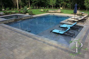 Cold Spring Harbor Gunite & Spa Combo contemporary pool   Design ...