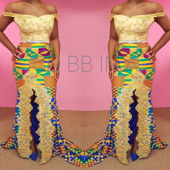 Loving this #kente #kentecloth on this cute body for her #tradional #engagement #gold #beadedlace #ghanawedding #ghana #sparkle #cobbina