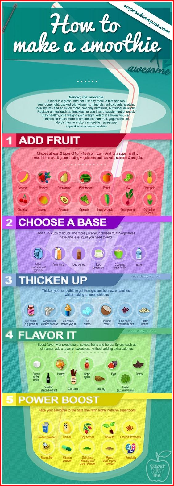 Best Way to Make a Smoothie (Infographic Tutorial). One of the easiest ways to get nutrients to your body is by drinking liquids; not just any liquid but fully packed, high nutritious juices.  And to make your drinking spree more enjoyable, make some smoothie.  Here are some tips how to make the best smoothie for you and your family.