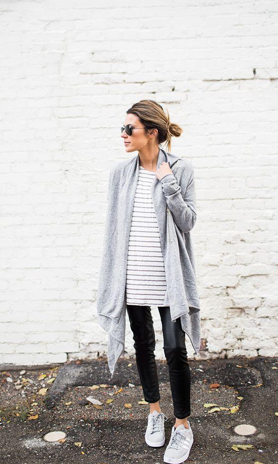 stripes and oversized cardigan