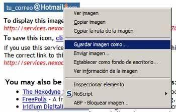 Crear una imagen con nuestra dirección de correo