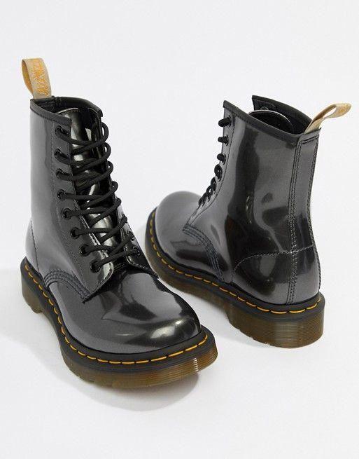 Dr Martens Vegan 1460 Silver Chrome Flat Ankle Boots Drmartensboots Boots Ankle Boots Flat Dr Martens Boots