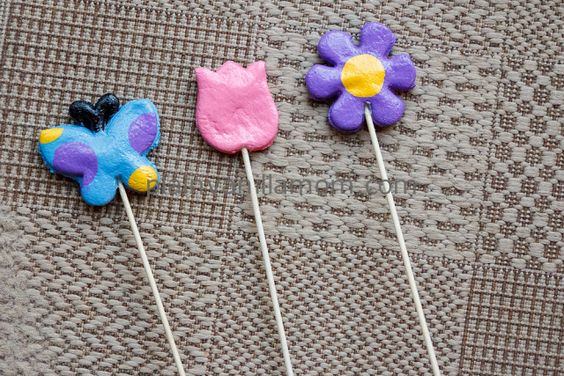 How to make salt dough plant picks by Plain Vanilla Mom: