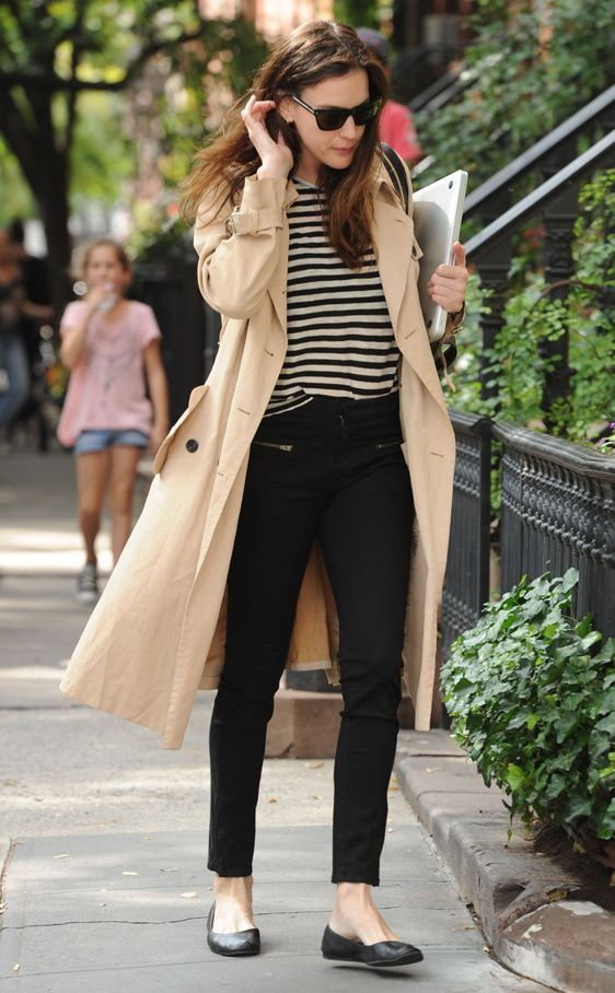 french women style, black and white stripped shirt, black pants, black ballerina flats, kacki trench coat