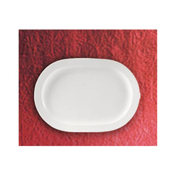 Clinton Square Pattern 12.5 x 9 Inch White Rectangular Platters/Case of 12