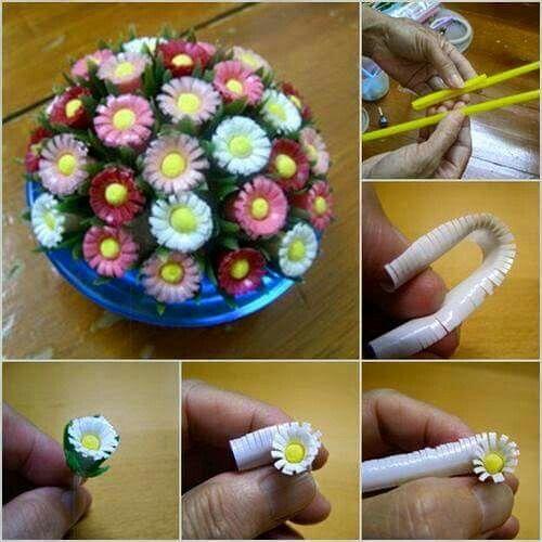 Aus Strohhalmen Blumen basteln