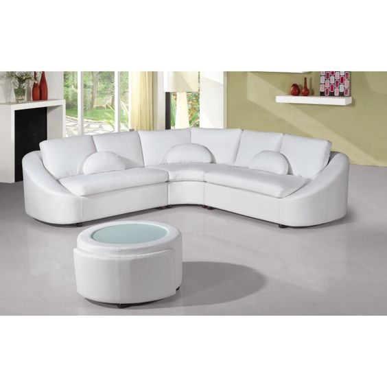 The 2224 modern sectional sofa affords your living room to have a sophisticated and refined appeal through its simple, crisp lines that are typical of contemporary furniture design.  It features a semi-circular shape with armrests that follow the outline of your arms.  Crescent shaped throw pillows in matching coordinates and a spherical coffee table with storage are included in the 2224 sectional.  Bonded leather/PVC and be modified in genuine leather quality via our customer service.