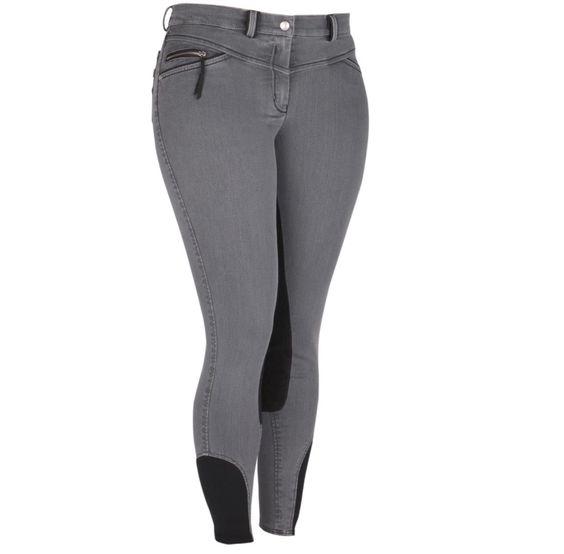 Grijze jeans rijbroek.