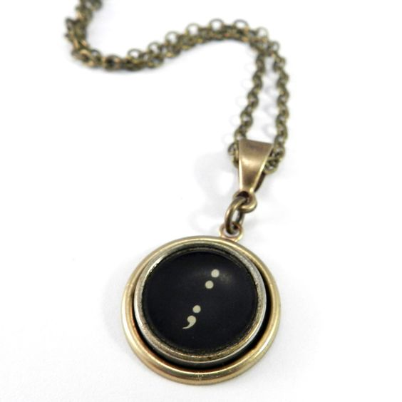 Vintage Typewriter Key Necklace - Punctuation - Semicolon - Brass