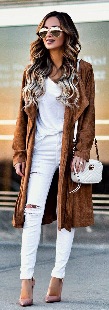 #winter #outfits / Brown Coat / White Shoulder Bag / White Blouse / White Ripped Skinny Jeans