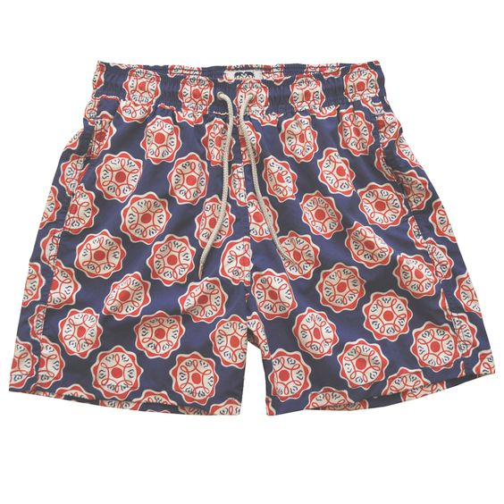 """Bundles of love"" – Bold red and white geo on navy blue. Men http://www.flooly.com/it/boxer-da-mare-uomo-love-brand-co/14014  boys http://www.flooly.com/it/boxer-da-mare-bambino-love-brand-co/14030"