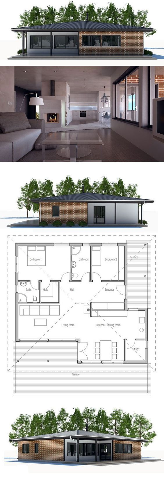 Small house plan with two bedrooms open planning big for Concept home com