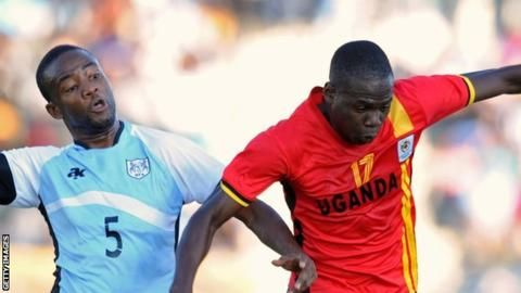 Farouk #Miya (right) scored to qualify #Uganda for the 2017 Nations Cup in #Gabon