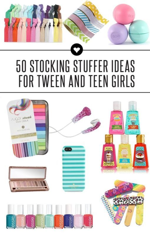 Great ideas for stocking stuffers for teen and tween girls.  These are also perfect ideas for gifts for your daughters to give their friends. Great list for small Christmas gifts!