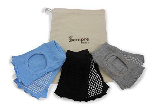 Yoga Socks- Non Skid Sticky - 3 Pairs slip resistant, gri…