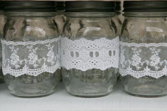 Idea: Wrap lace around mason jars to create a shabby chic look for your next party! #partyidea #shabbychic