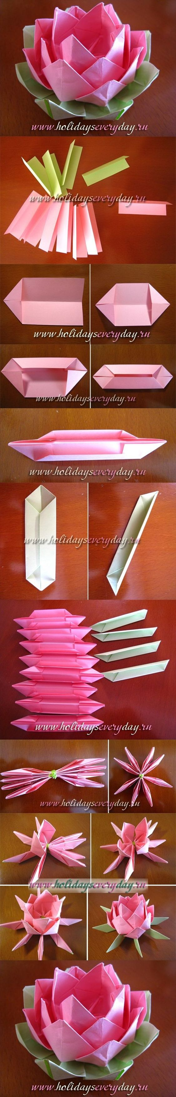 Diy origami paper lotus flower best for Diy paper lotus candlestick