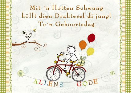 Fahrrad Luftballons Plattdeutsch Geburtstag Geburtstagswunsche