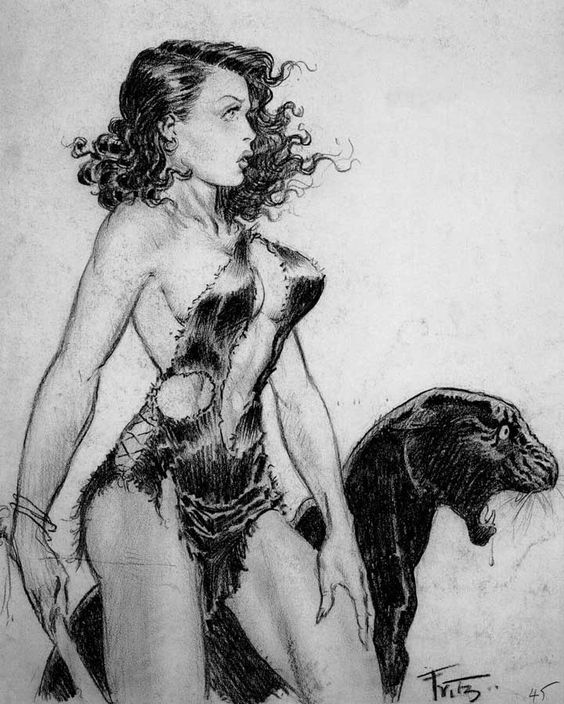 Eros Art — A Jungle Girl with his pet by the famous American...