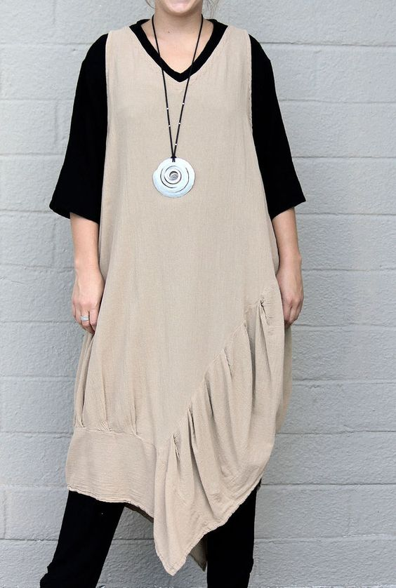 OH MY GAUZE   Cotton Angle-Hem  NEWPORT  Tunic Long Vest  OS  M/L/XL/1X  KHAKI #OHMYGAUZE #Tunic