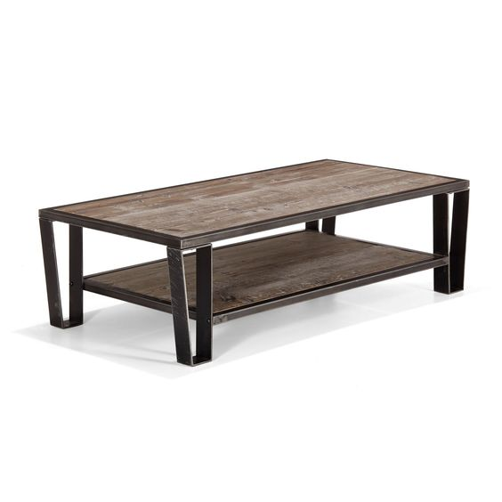 Table basse en pin et acier pin recycl teint gris ware for Decoration table basse de salon