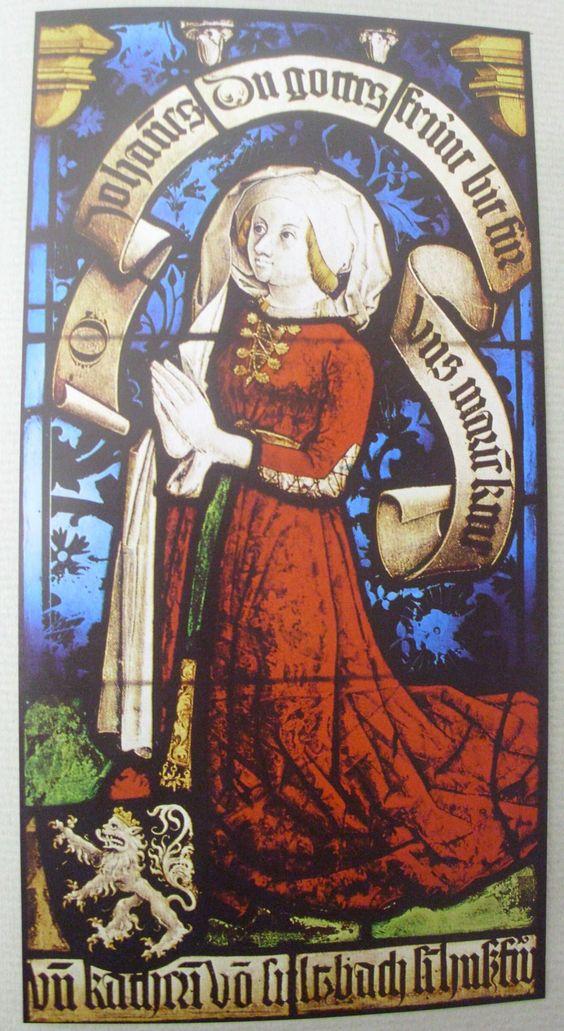 Katharina von Sulzbach, Kirchenfenster aus dem Elsaß, um 1480 - Appears to have a split skirt front