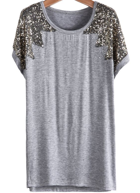 Camiseta Modal lentejuelas-gris 12.15
