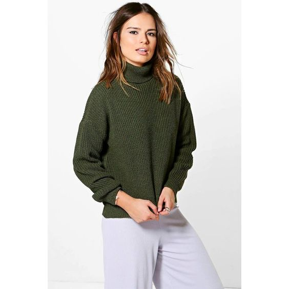 Boohoo Isabel Oversized Fisherman Roll Neck Jumper ($30) ❤ liked on Polyvore featuring tops, sweaters and khaki