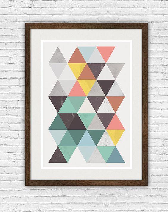 Affiche abstrait, art geomertric, art scandinave mur imprimé, aquarelle abstraite, rétro, milieu design du siècle, les triangles colorés, gros