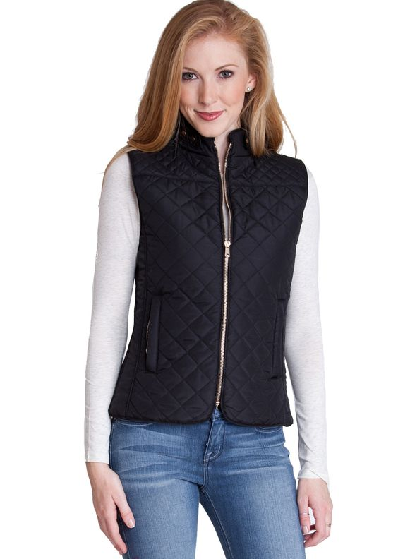 Quilted Padded Zipper Vest J153B, clothing, clothes, womens clothing, jeans, tops, womens dress