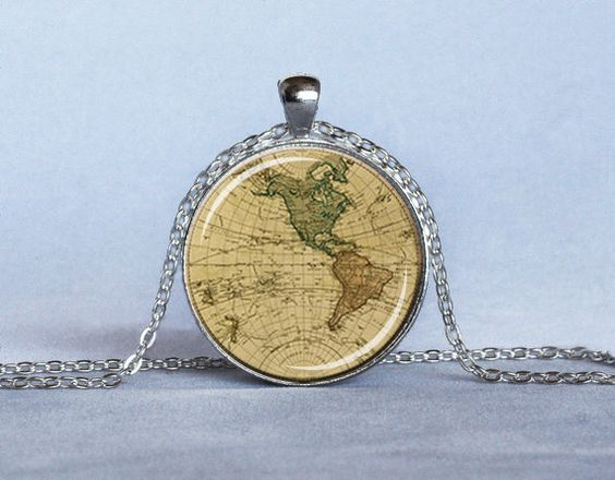 Vintage map pendant beige green rust map necklace map jewelry new vintage map pendant beige green rust map necklace map jewelry new world map necklace map lovers gumiabroncs Choice Image