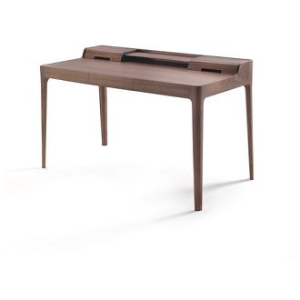 Carlo Ballabio Saffo Writing Desk - Writing desk in solid canaletta walnut with drawer, compartments and totally hidden cable management.