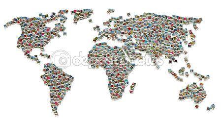 Collage di mappa mondo fatto di foto di viaggio colorato isolato su sfondo bianco