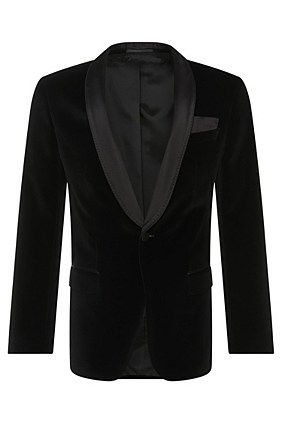 Slim fit dinner jacket in cotton with silk detailing: 'Hadfield_1', Black
