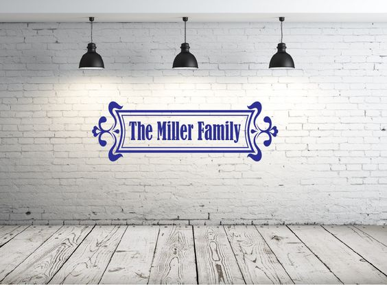 Vinyl wall art. Personalized family name. Custom vinyl wall decor. Custom wall name. Wall sayings for front door, living room. Personalized by PinkPigPrinting on Etsy