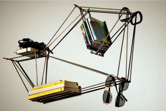 tensor-wire frame. minimalist bookshelf.